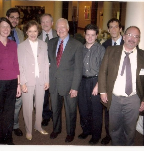 Rosalyn Carter and President Jimmy Carter with me lurking in the background looking freaky. I won a Carter Center journalism fellow and they had us down to Atlanta.  I can not say enough about that women, she is wonderful and treated me with such respect, compassion and kindness.  She's a saint.
